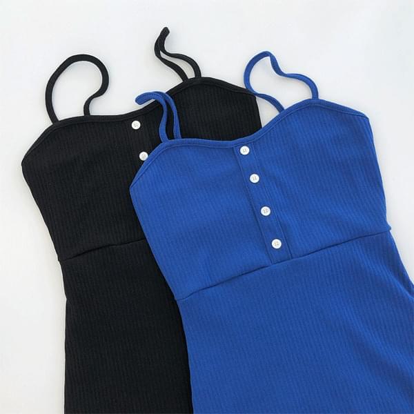 Pre Ribbed button mini Dress
