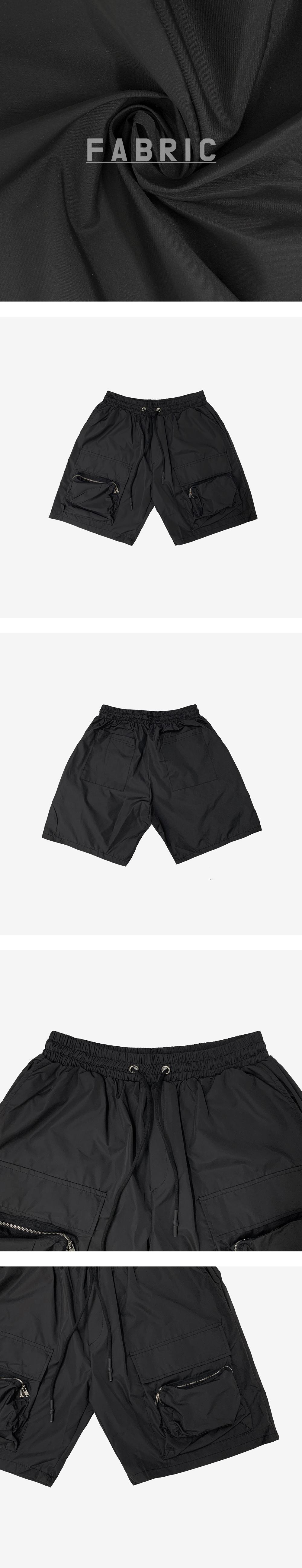 Blow nylon pocket half pants