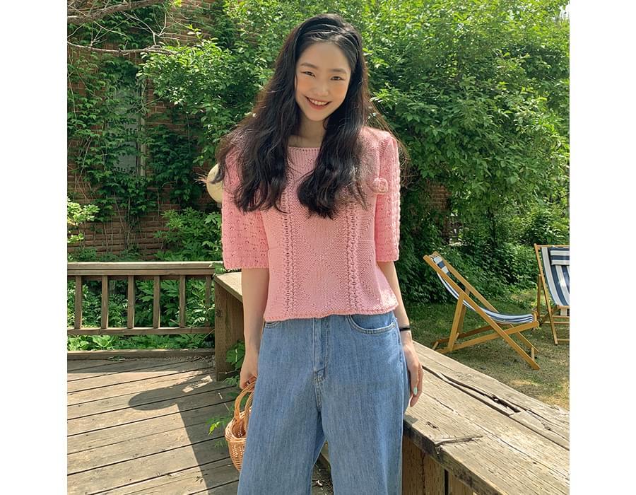 Rose Round Short Sleeve Knitwear