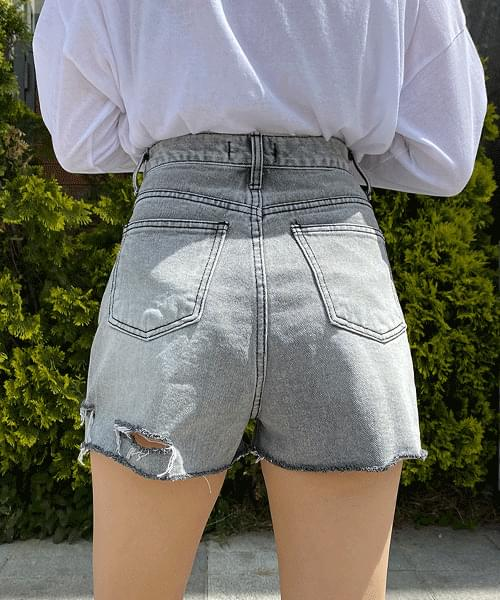Gray Ripped Denim Short Pants
