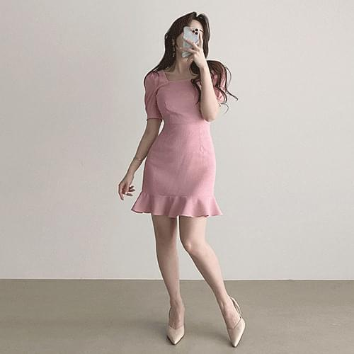 Thin Square Neck Short Sleeve Ruffled Mini Mermaid Dress 3color
