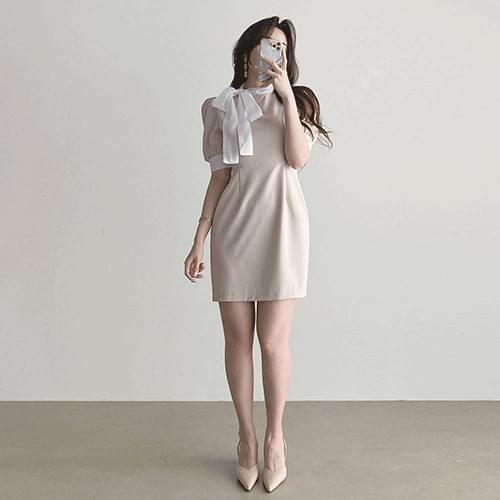 Slim flight attendant side ribbon puff short sleeve mini Dress 3color