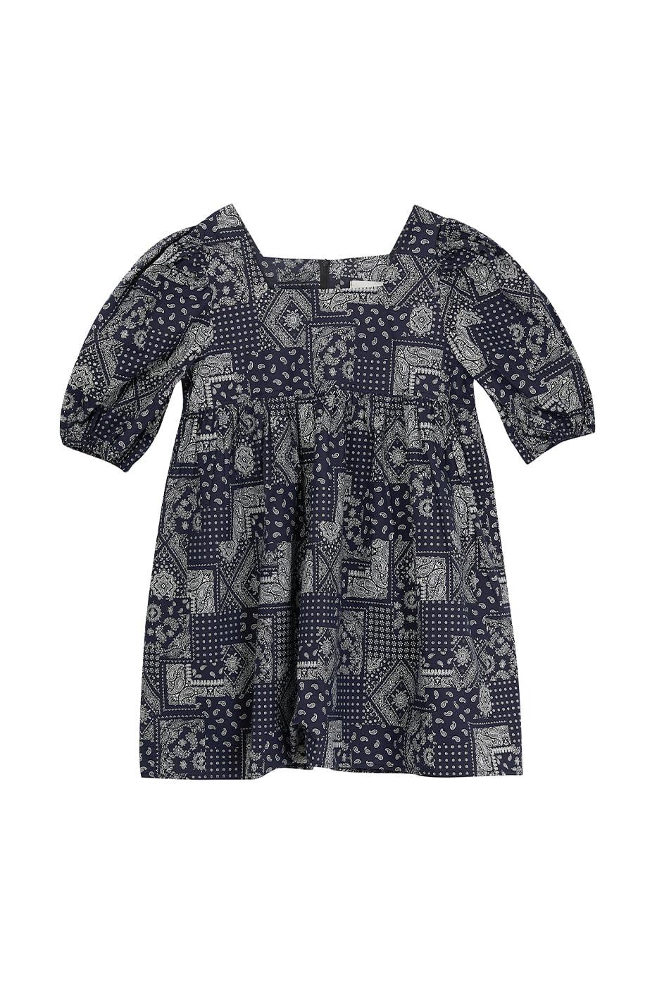 Paisley flared mid-length dress