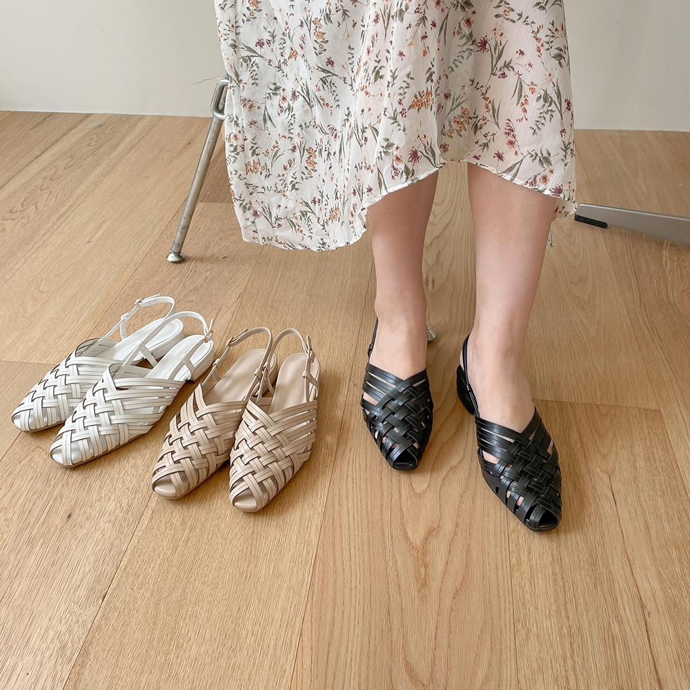 2cm toe twisted slingback sandals