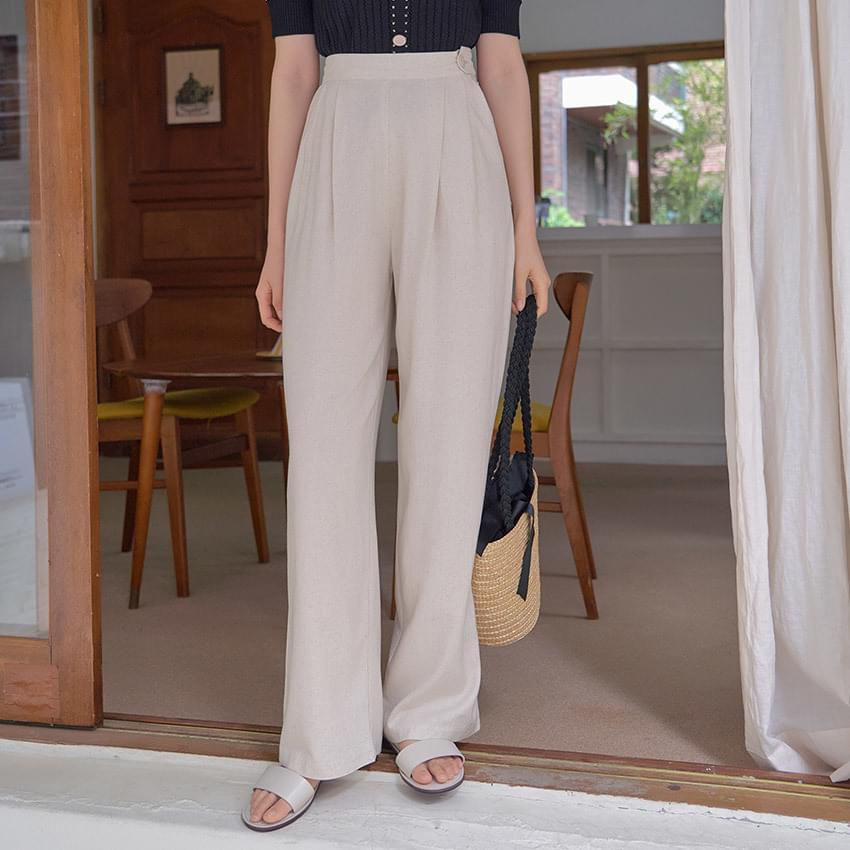 Mode linen wide-leg trousers