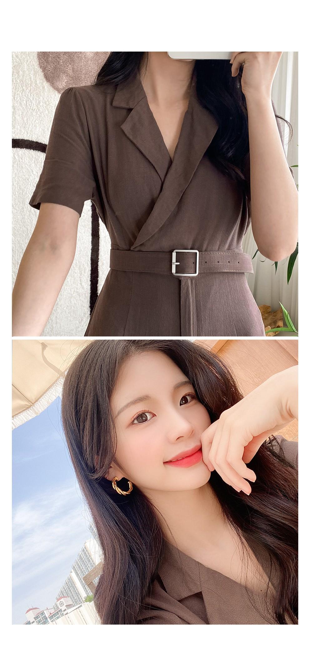Linen Belt Jumpsuit Belt Set: D