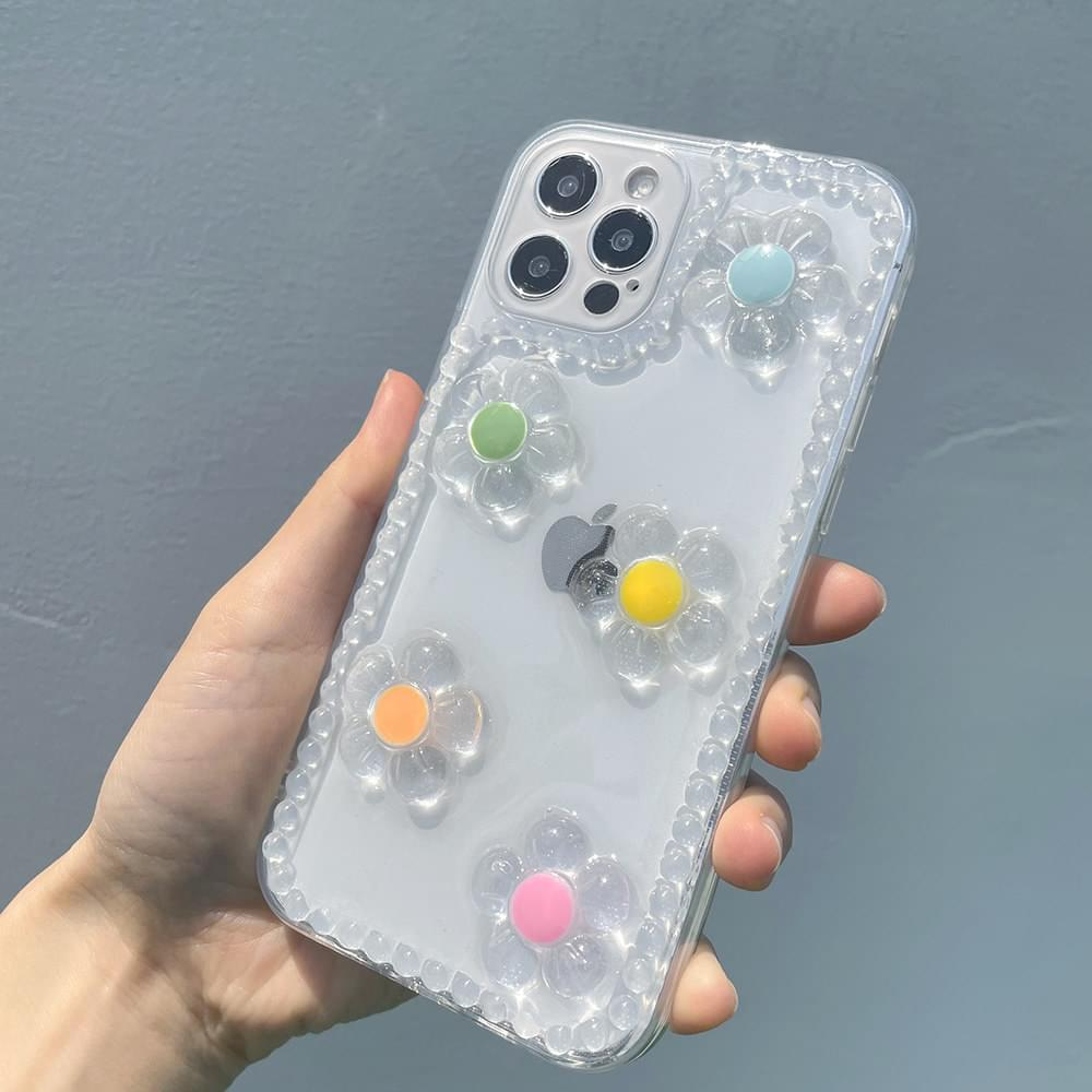 Colorful resin three-dimensional flower iPhone case