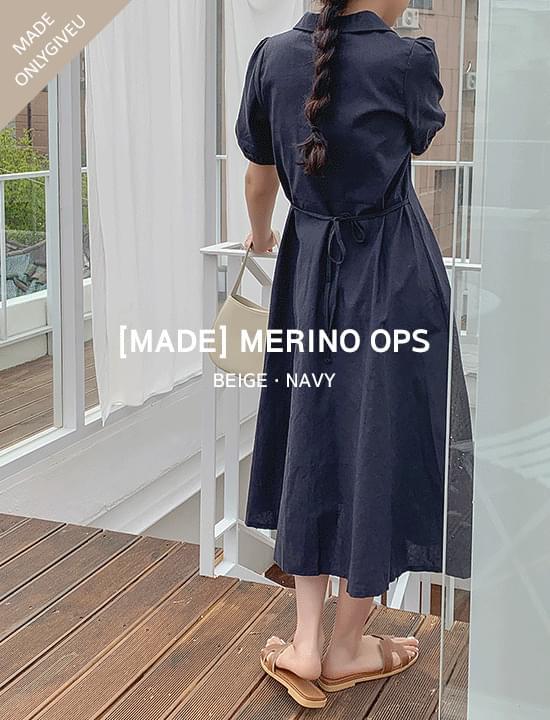 Merino Linen Dress(navy)