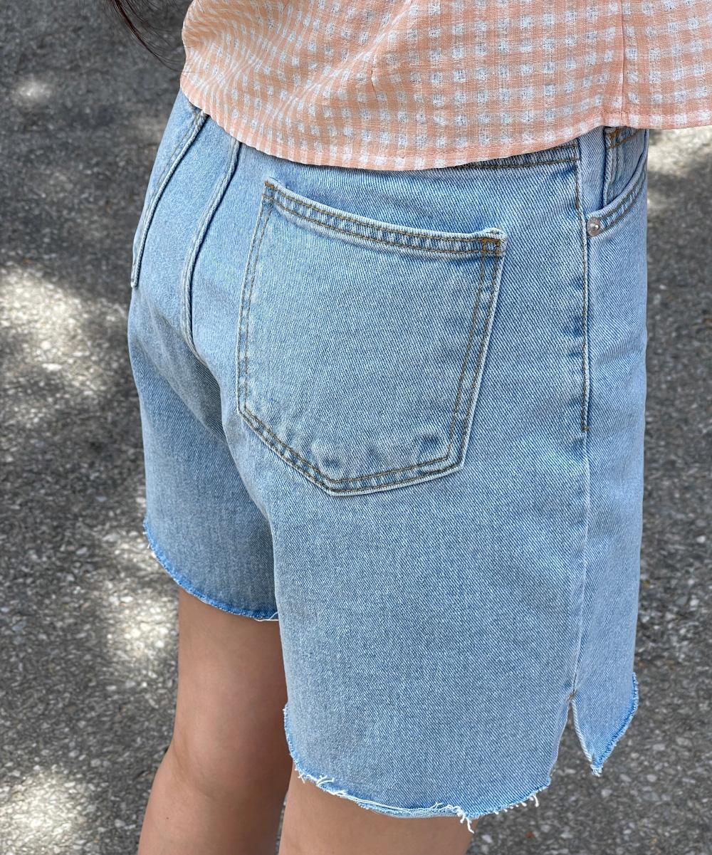 Cant slit half denim pants