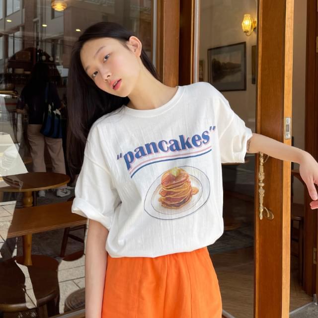 Pancake Print Overfit Cotton Tea