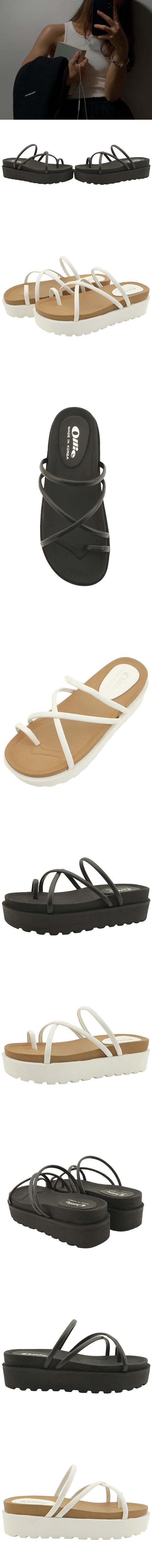 Thick Heel Height Slim Pleated Slippers Black