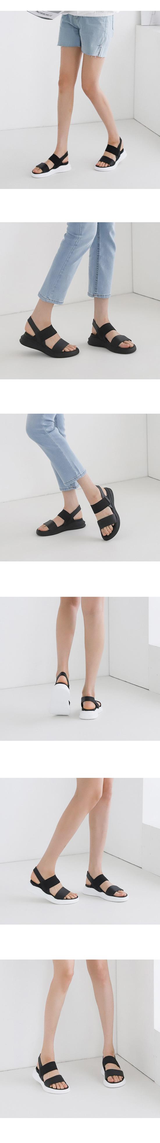 Couple Shoes Banding Cushioning Flat Sandals White