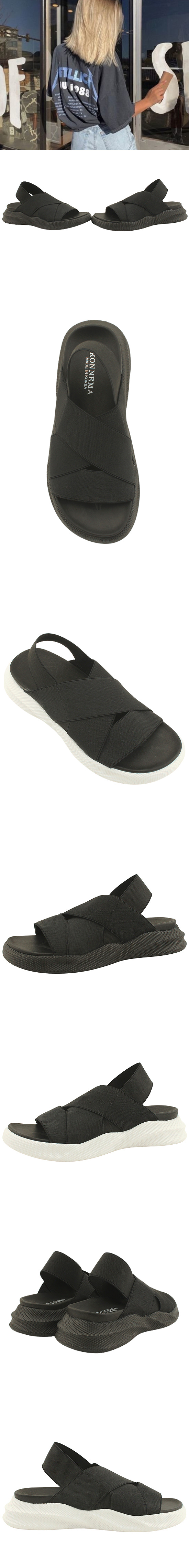 Couple Shoes Banding Slim Fit Flat Sandals White