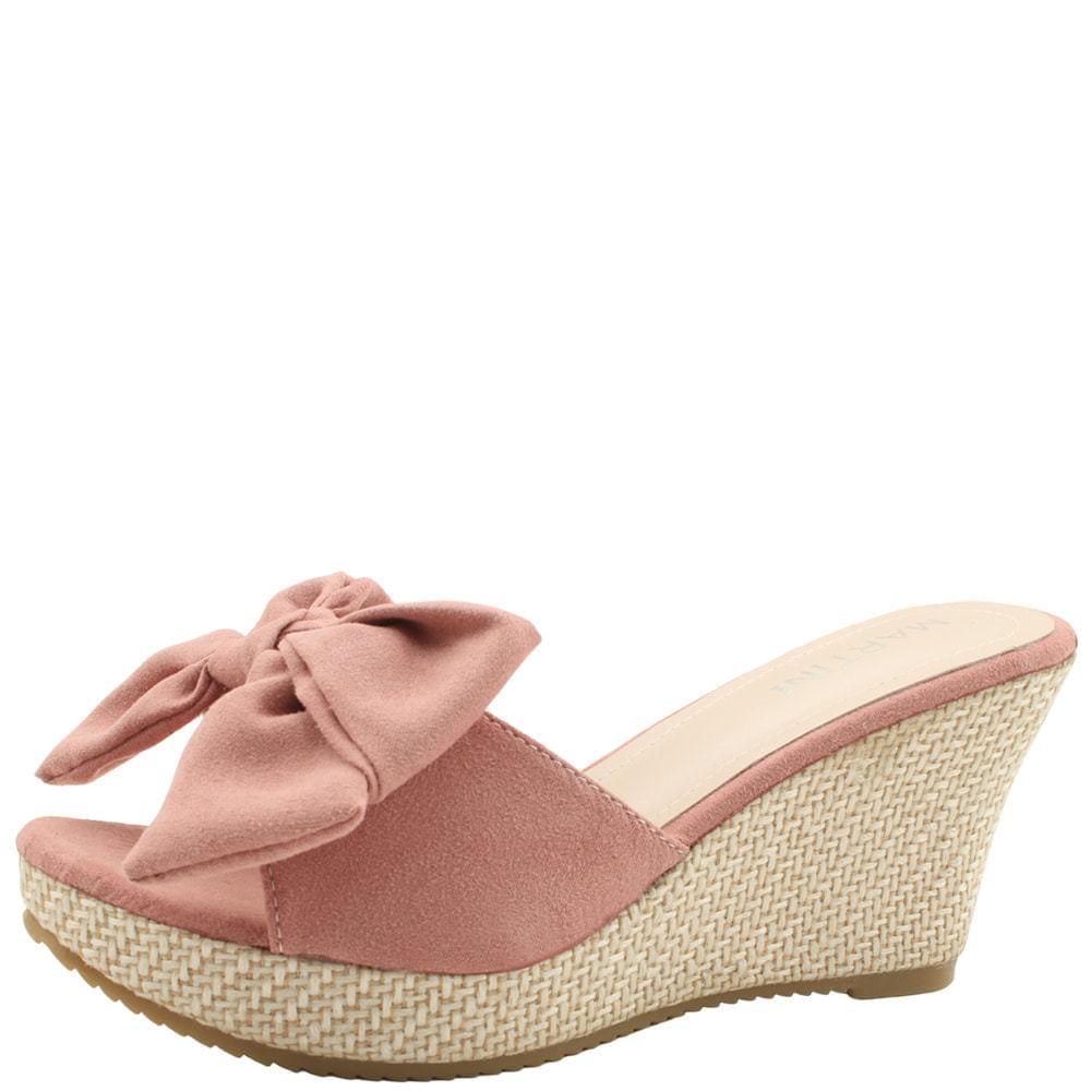 Ribbon Rattan Wedge High Heel Mule Slippers Pink