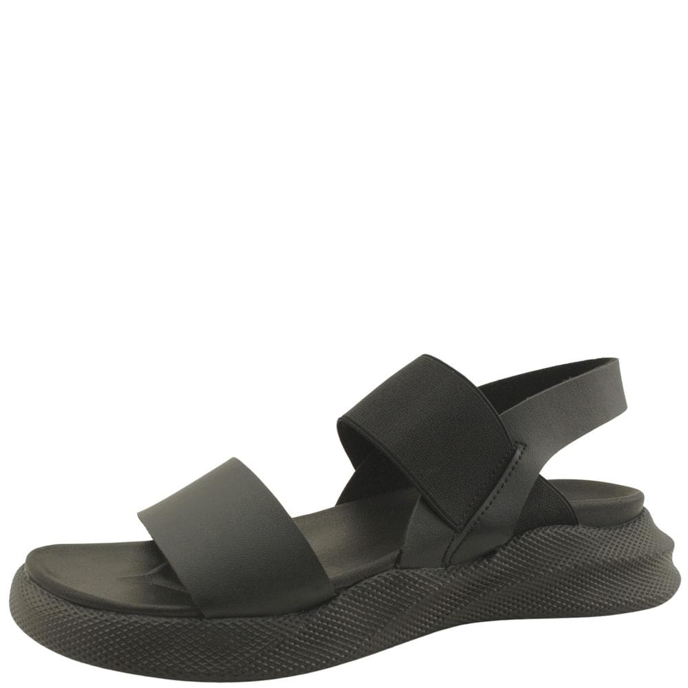 Couple Shoes Banding Cushioning Flat Sandals All Black