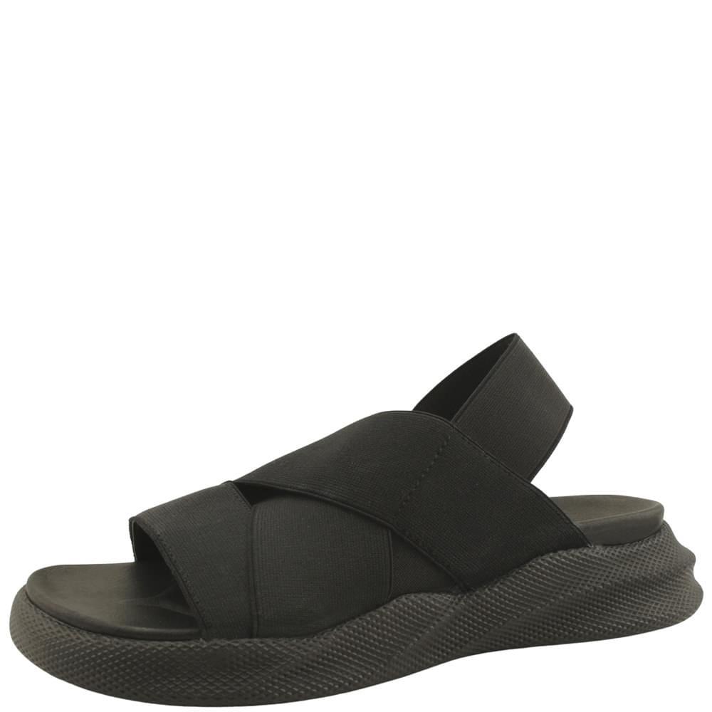Couple Shoes Banding Slim Fit Flat Sandals All Black