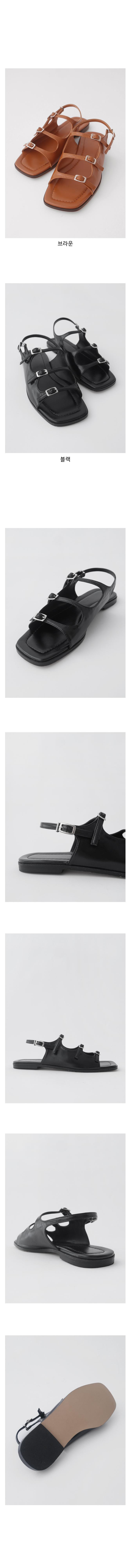 parallel strap buckle sandal