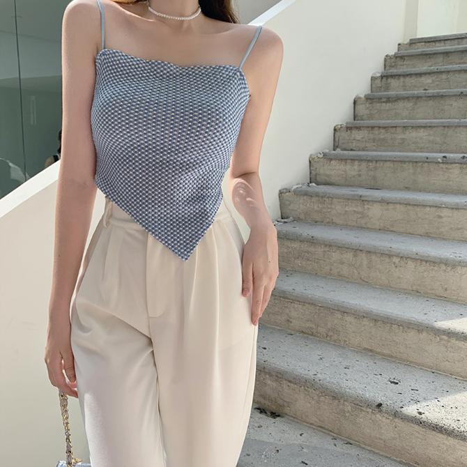 Summer Pattern Unbalanced Top Sleeveless