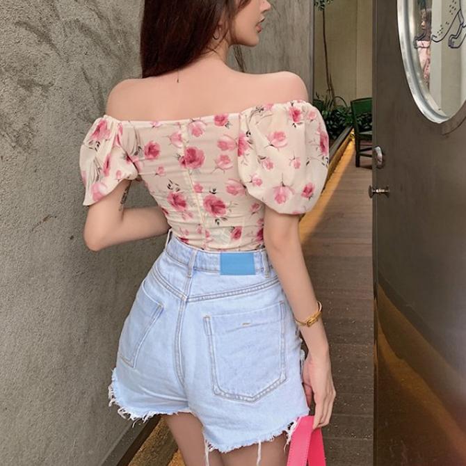 Pastel chiffon flower blouse