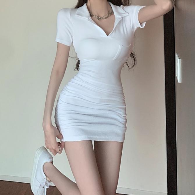 Basic Collar Ruffle Slim Dress