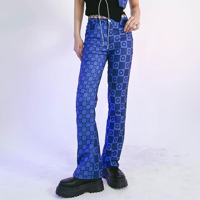 Check Cree- Flared Pants