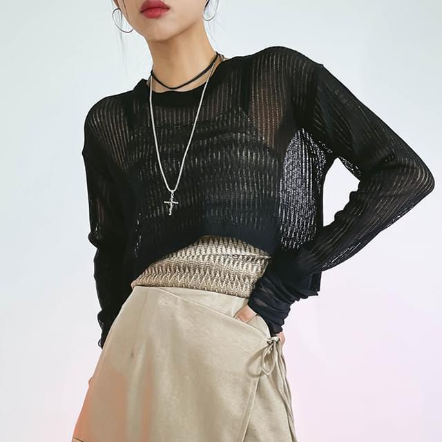 See-Through Indie Crop Knitwear