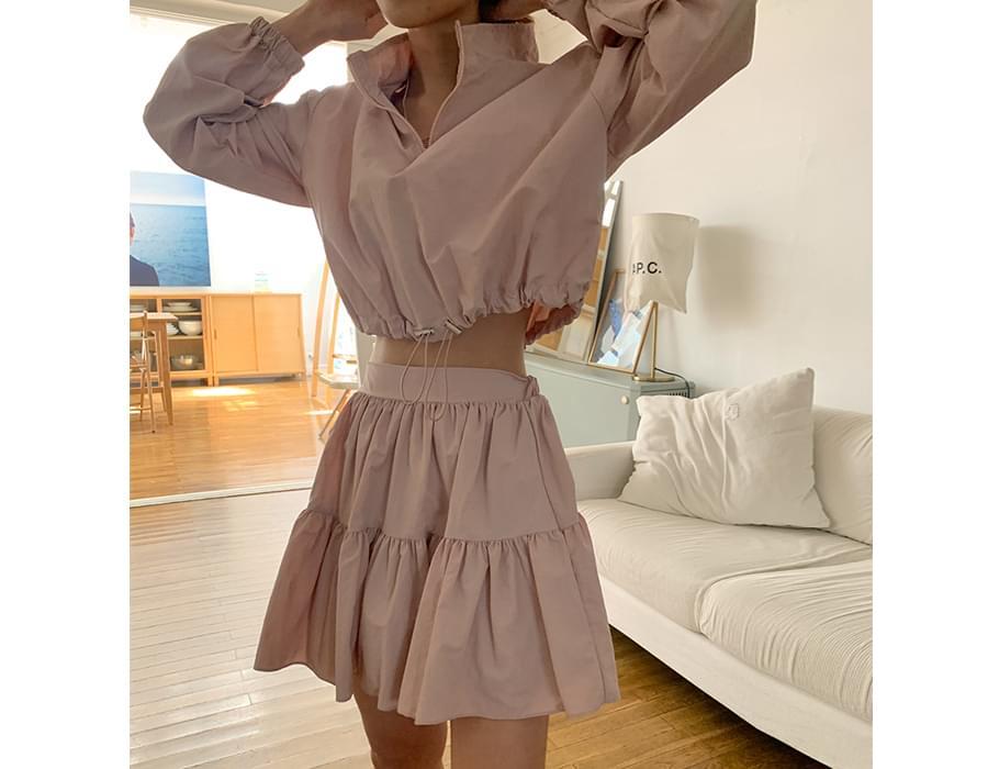 Crop Anorak Jacket& Cancance Skirt SET