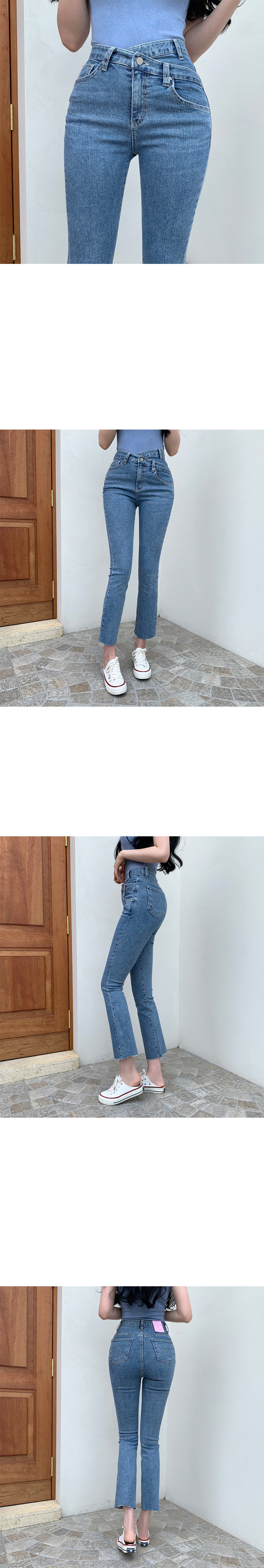 Tia Van Hai diagonal semi Flared denim pants