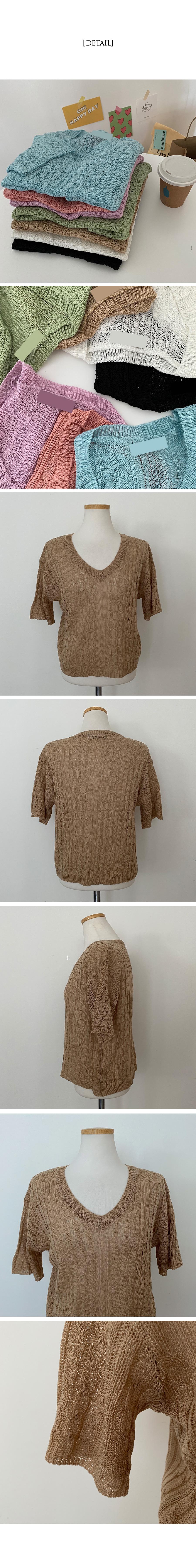 Ink Cable V-Neck Short Sleeve Knitwear