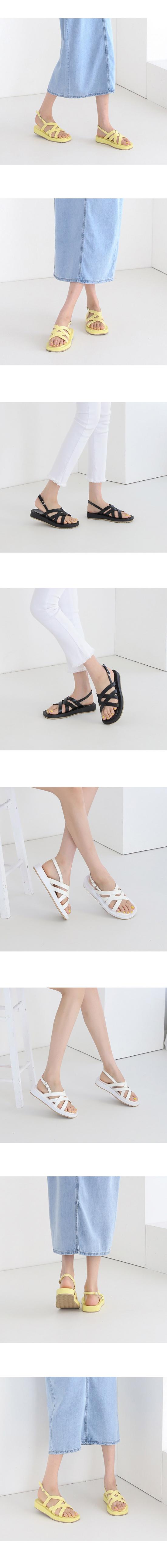 Cross Strap Flat Sandals 3cm White