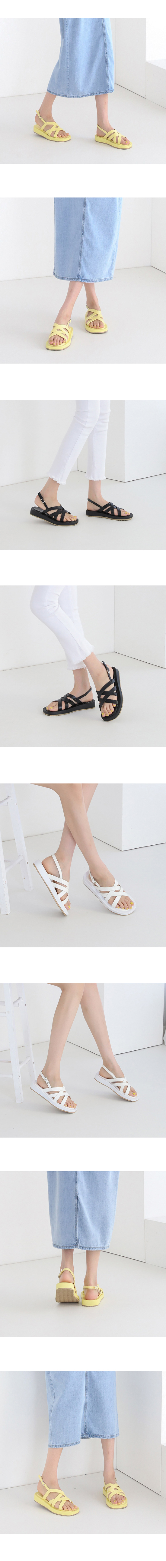 Cross Strap Flat Sandals 3cm Yellow