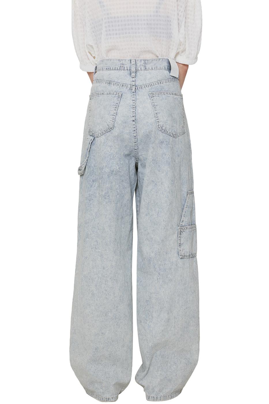 Water stripe strap wide jeans