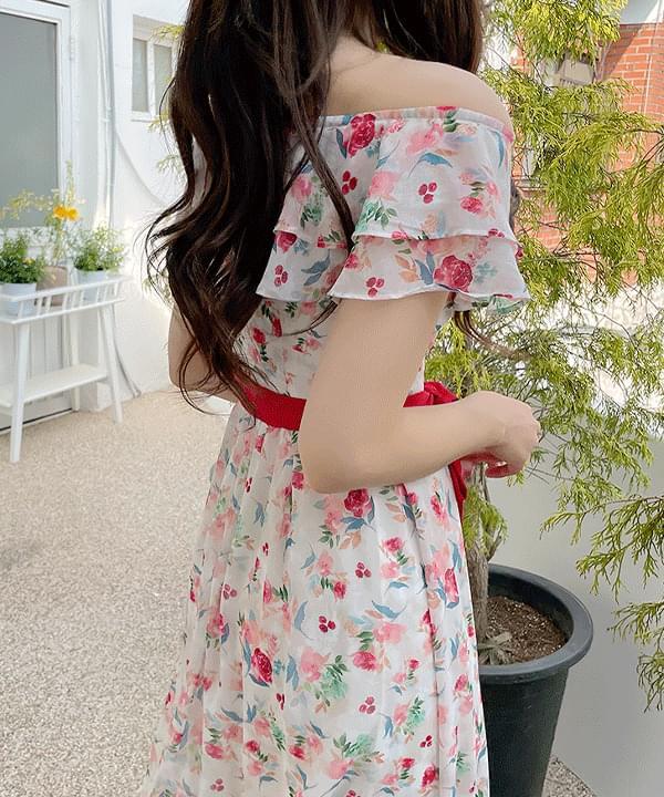 Velia floral shoulder Dress 2color