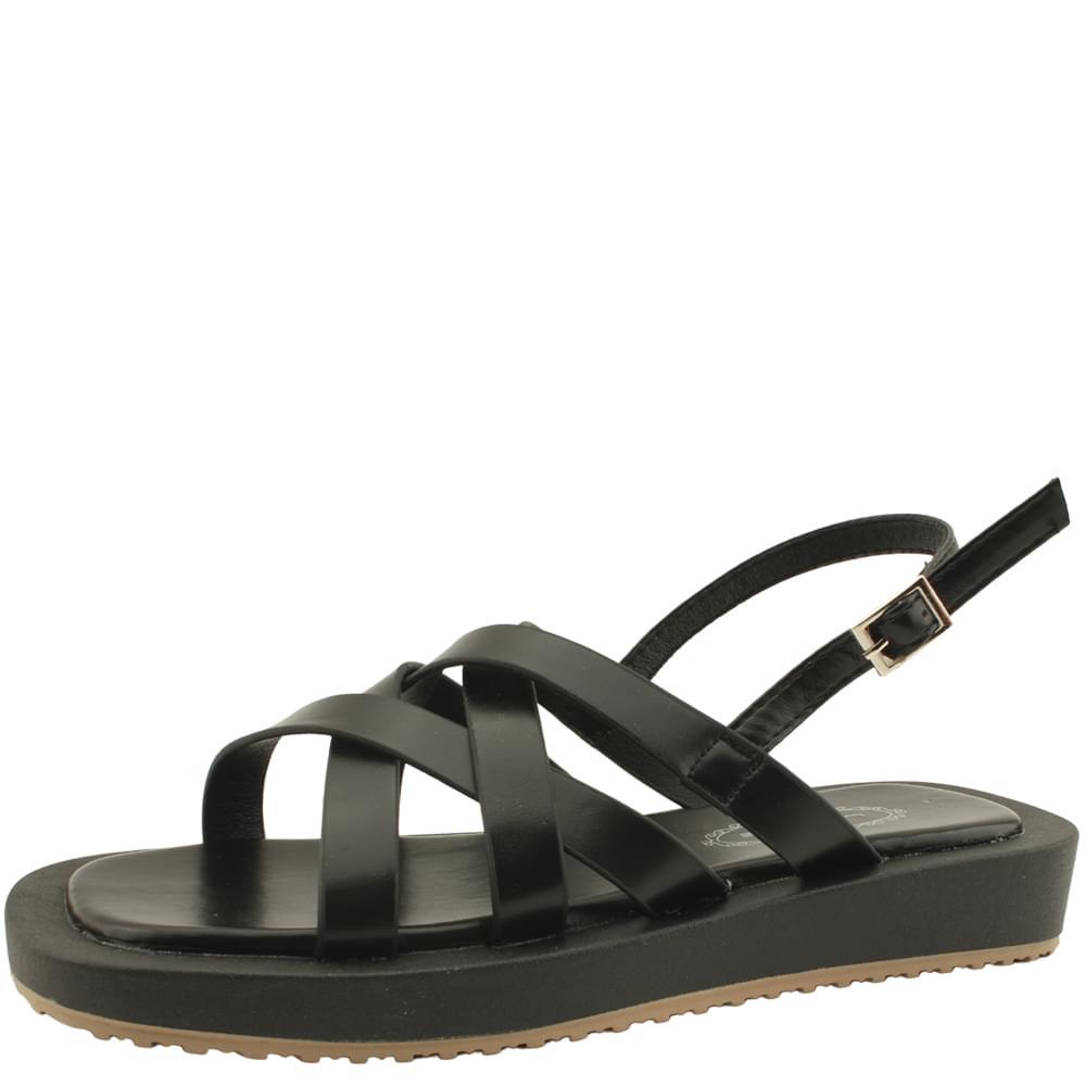Cross Strap Flat Sandals 3cm Black