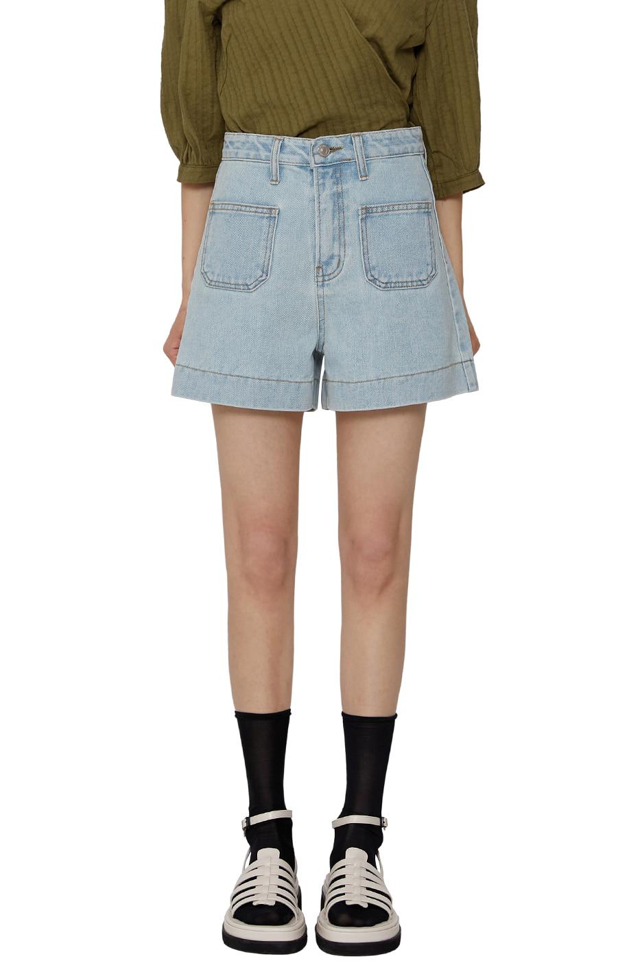 Baked pocket denim shorts