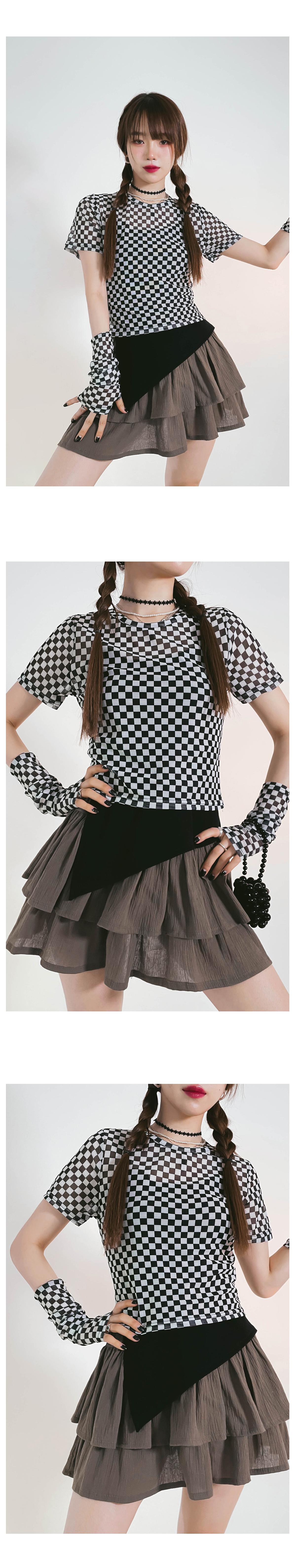 Checker Frank Crop T-shirt & Warmer