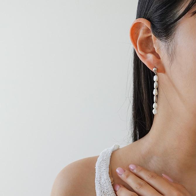 Freshwater Pearl Drop Titan Needle Earrings