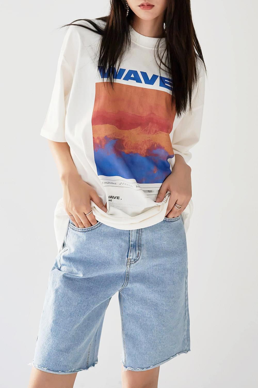 wave digital print T-shirt