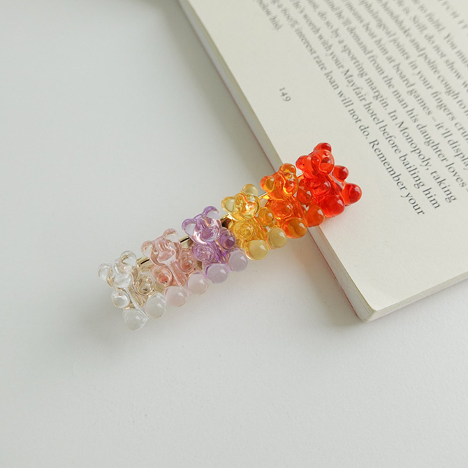 Candy colored bear hairpins
