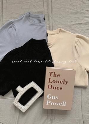 韓國空運 - Pushlin Round Neck Shirred Knitwear 針織衫