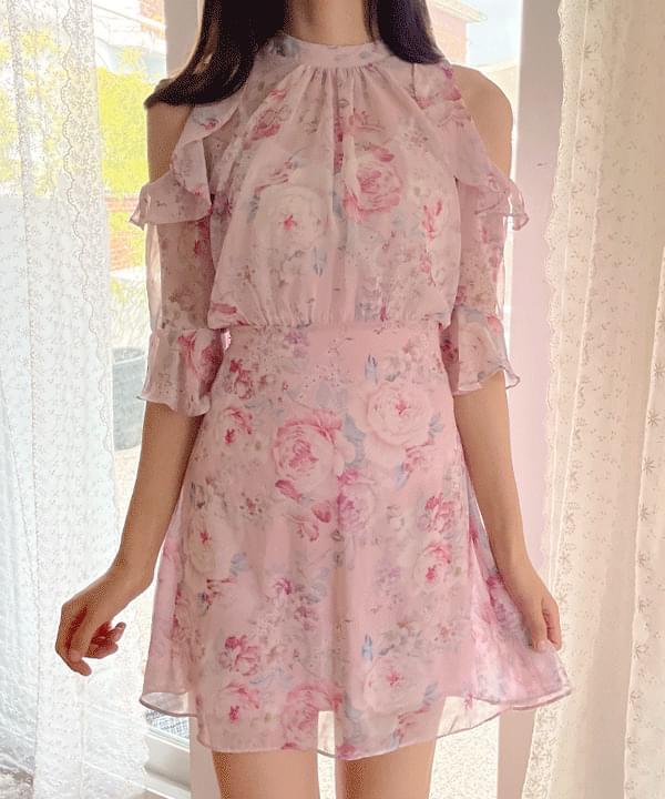 Espa floral split Dress 2color