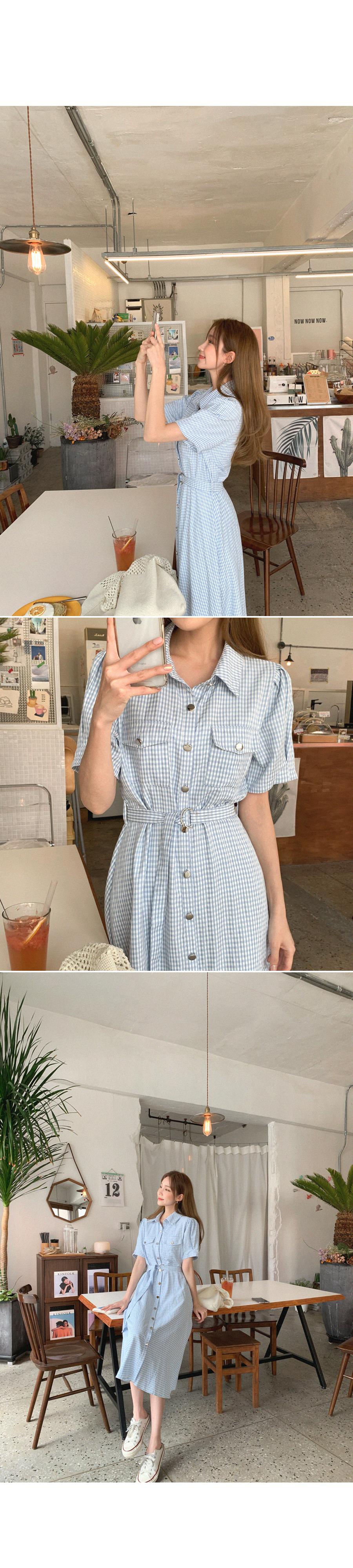 Cool Charm Check Long Dress+ Belt Set