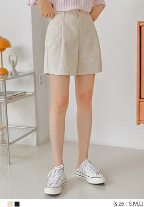 Pleat Accent Cotton Mini Shorts