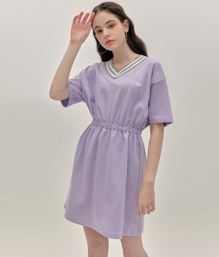 HEART CLUBLight Purple Elastic Waist Dress