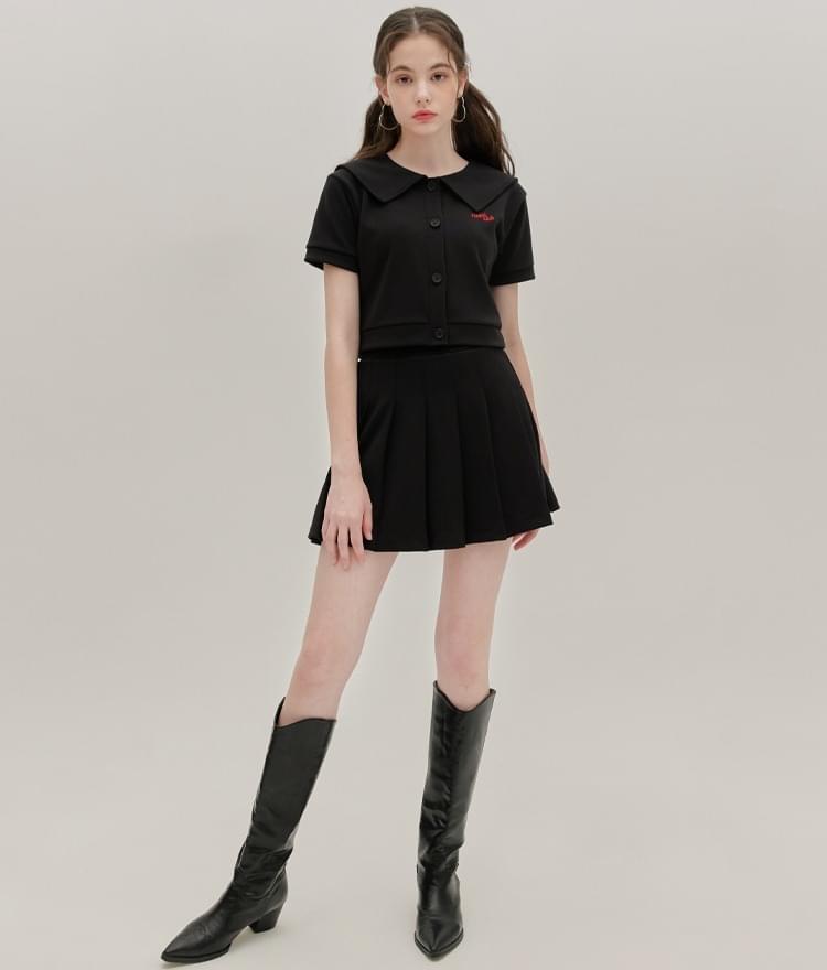 Heart Jersey Sailor Cardigan Heart Jersey Pleats Skirt (Black)SET