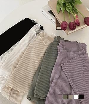 Rain Ribbed Ruffle Crop Knitwear T-shirt