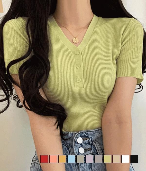 Cow Button Short Sleeve Knitwear 針織衫
