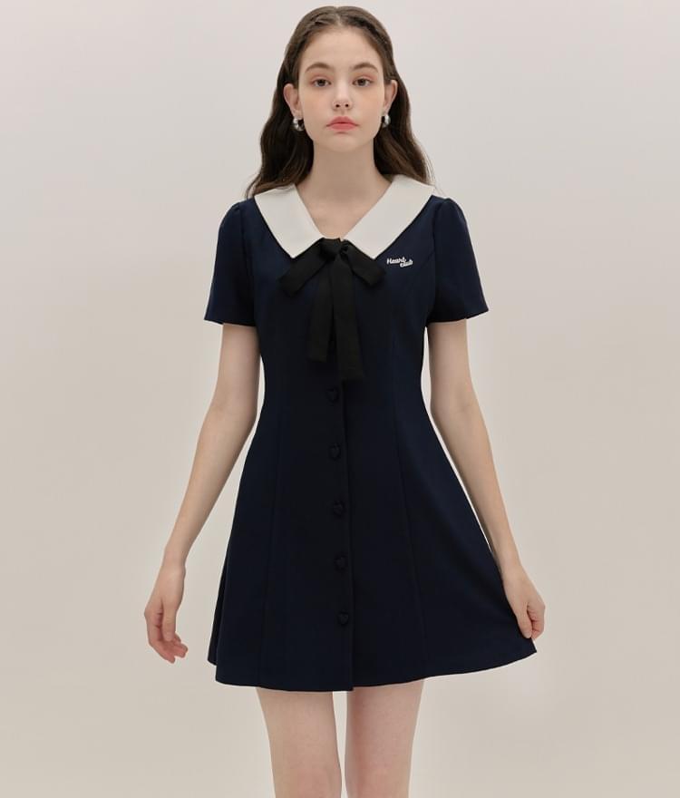 HEART CLUBContrast Collar Navy Dress