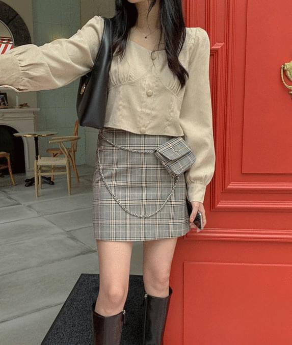 Holic check mini skirt