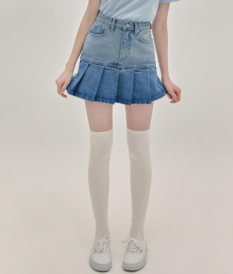 HEART CLUBPleated Hem Denim Mini Skirt
